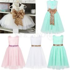 New Embroidery Tulle Flower Girl Dress Sash Sequins Bow Kids Wedding Party Dress