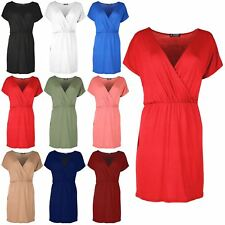 Womens Wrap Over Plunge V Neck Ruched Short Batwing Sleeve Bodycon Shift Dress