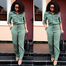 Fashion Womens Party Casual High Waist Jumpsuit Lapel Button Tops Loose Pants
