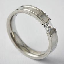 Womens Titanium silver plated Square Crystal wedding love Ring Size 6 7 8 10