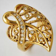 Womens gold filled Crystal Mystic Leaf cocktail Band Ring Size 6-9 free shipping