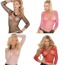 Long Sleeve Fence Net Top Cami Fishnet Clubwear Costume Lingerie 1480 One Size