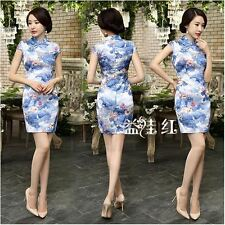 24 Colors Traditional Chinese Women's Slim Cheongsam Dress Mini Qipao SZ S-3XL