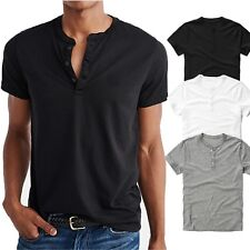 Mens Casual Classic Short Sleeve Henley Shirt Cotton Tops Tee Jersey Solid S-2XL
