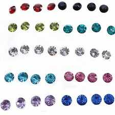 Free Round Hot Clear/Multicolor Earrings Crystal Ear Studs Jewelry Earrings
