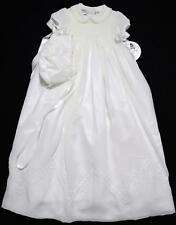 SARAH LOUISE GIRLS SMOCKED WHITE CHRISTENING GOWN W/PETTICOAT~BONNET~3M, 6M~NWTS