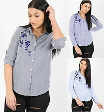 Womens Ladies Floral Embroidered Striped Collared Blouse Top Dress Shirt