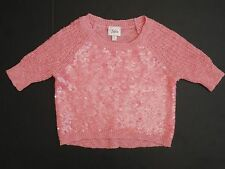 NEW Justice Girls Pink sequin shimmer sparkly sweater 3/4 sleeve size 5 or 6 NWT