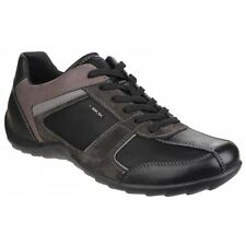 GEOX PAVEL Mens Soft Suede Leather Lace up Casual Comfort Trainers Shoes Black