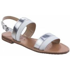 GEOX SOZY Ladies Womens Leather Open Toe Flat Summer Comfort Sandals Shoes White