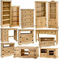 Furniture Living Room Waxed Pine Coffee Console Table Shelves TV Unit Magazine