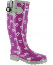 Cotswold DOG PAW WELLY Womens Ladies Rubber Adjustable Wellington Boots Purple