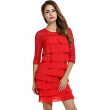 Women Lace Medium Sleeve Bodycon Cocktail Party Multi Tiered Dress EA