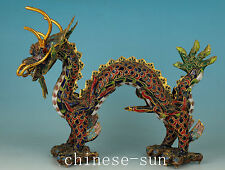 Noble Chinese  Cloisonne Handmade Carving Dragon Collect Statue Figure