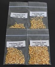 GOLD  PLATED CRIMP BEADS 2 X 2 MM / HOLE 1.5 MM QUALITY PLATING