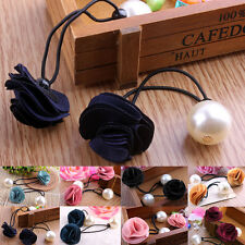 Newest Hot Products Hair Band Rope Fashion Ponytail Holder Girls Pearl Flower UK