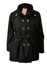 New Womens ladies black wool blend funnel neck belted winter coat size * 16 - 24