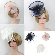 Wedding Races Party Fascinator Veil Net Hat with Sinamay and Feathers Hatinator