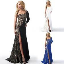Women Formal Lace Long One Shoulder Evening Party Cocktail Prom Bridesmaid Dress