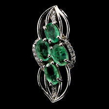Gorgeous Natural Oval 6x4mm Top Rich Green Emerald White Cz 925 Silver Pendant