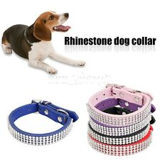 Adjustable Rhinestone PU Leather Bling Crystal Puppy Collar Pet Dog Cat Collars