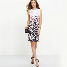 Cocktail Short Simple Dress Fashion Women Beautiful Sleeveless Floral Party