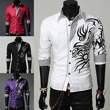 Mens Dragon Slim Fit Long Sleeve Polo Dress Shirts Pullover Stylish Luxury Tops