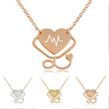 1Pc Women Heart Electrocardiogram Necklace Sweater Pendant Chain Jewellery Gift