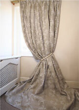 LUXURY Floral Damask 100% Linen Total BLACKOUT Thermal Lined QUALITY CURTAINS