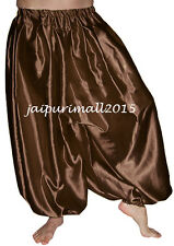 Coffee Belly Dancing Satin Harem Pants Yoga Genie Aladdin Harem Trouser Pants