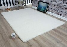 CREAM/IVORY SOFT SHAGGY NON SHED PILE PLAIN RUG THICK FLUFFY FLOOR CARPET NEW