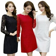 UK Women Long Sleeve Lace Bodycon Summer Dress Evening Party Cocktail Mini Dress