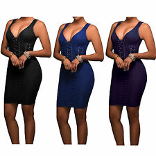 Womens Party Dress V Neck Hollow Out Sleeveless Bodycon Bandage Club Dresses