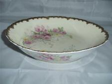 ANTIQUE ELITE LIMOGES ROUND SERVING BOWL  - BEAUTIFUL PINK FLOWERS - FROM FRANCE