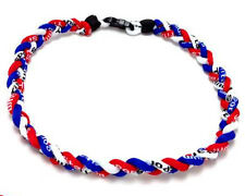 12pcs Titanium Baseball Necklace Red Blue White American Team Rope Necklace