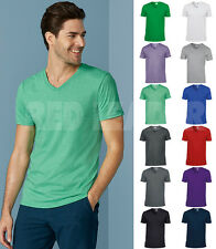 Mens Gildan Softstyle V Neck Cotton TShirt Top Casual Leisure Sport Work 64V00