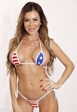 Patriotic Tie Side Thong Bikini Micro Extreme Swimwear Red Blue - White String