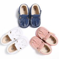 Kids Baby PU Leather Tassel Crib Shoes Toddler Boys Girls Soft Sole Shoes 0-18M