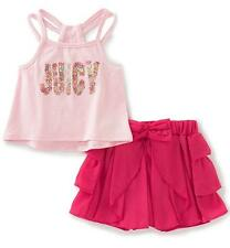Juicy Couture Toddler Girls 2pc Pink Hi-Lo Tank & Short Set Size 2T 3T 4T