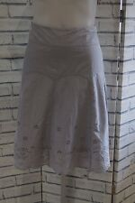 NEW WHITE STUFF GREY BRODERIE COTTON A LINE SUMMER SKIRT SIZE 14