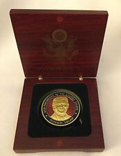 DONALD TRUMP 45TH PRESIDENT CHALLENGE COIN GOLD ENAMEL in WOOD BOX EAGLE SEAL