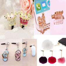 Crystal Crown 3.5mm Anti Dust Earphone Jack Plug Stopper Cap for Cell phone