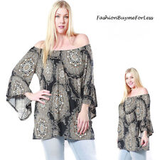 PLUS Size Boho Off Shoulder Bell Fairy Sleeve Peasant Tunic Shirt Top 1X 2X 3X