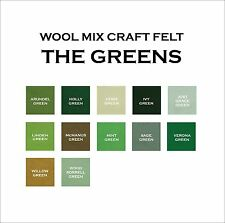 9 x 9 Inch Wool Mix Craft Felt Squares - Greens - 2 Pieces a Lot