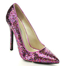 Pink Glitter Pointy toe Stiletto Heel pumps Party Prom Women's shoes Dayna-8