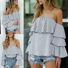 Stylish Womens Summer Off Shoulder Shirt Casual Blouse Loose Cotton Tops T Shirt