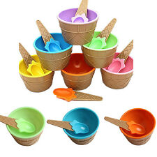 1Pcs Container Bowl With Spoon Eco-Friendly Dessert Cup Couples Kids Ice Cream