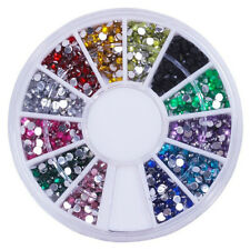 12 Mixed Color Mental Glitter Nail Tool Crystal Flat Back Acrylic Rhinestone Z