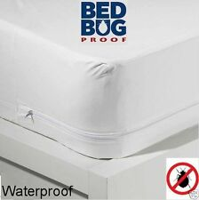 Bed Bug/Allergy Relief Waterproof Zippered Vinyl Mattress Cover/Protects Defends