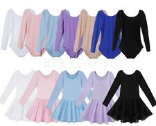Toddler Kids Girls Ballet Dance Dress Leotard Long Sleeve Gymnastics Dancewear